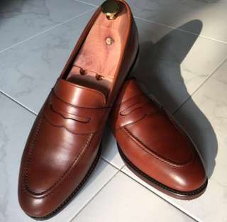 Loake 1880 brown leather penny loafers