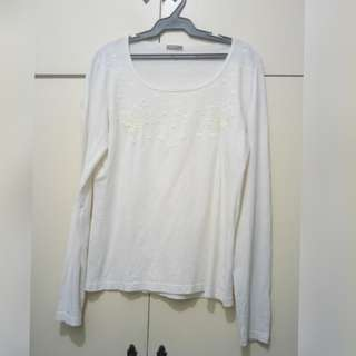 WA684 Newpenny Cream Colored Blouse (see pics for Measurements) Large