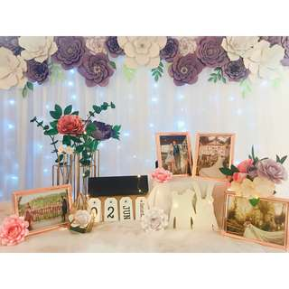 Paper flowers photo album table styling