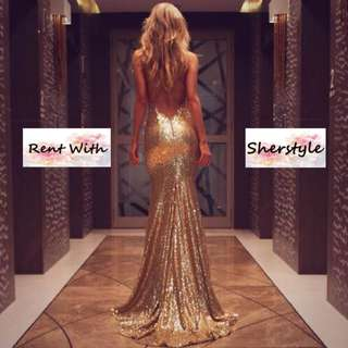 👭 GOLD SEXY BACK SEQUIN GOWN WITH SLIT & LONG TRAIN (RENTAL)