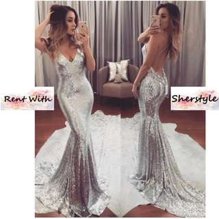 👭 SILVER SEXY BACK SEQUIN GOWN WITH SLIT & LONG TRAIN (RENTAL)
