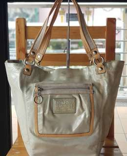 Authentic Coach Bella Sparkle Leather Tote in Pale Gold/Platinum