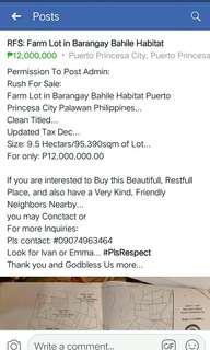 RFS: Farm Lot in Barangay Bahile Habitat