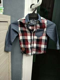 Boy's Semi Checkered Long Sleeves Shirt