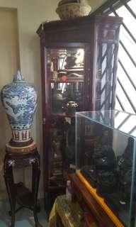 Old corner rosewood display cabinet