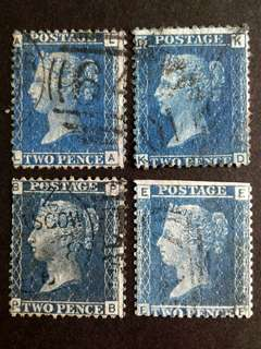 1858 Blue penny stamps.
