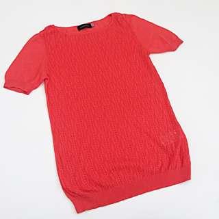 1d146413aec5 GIORDANO LADIES Orange Vermillion Knit Short Sleeve Lightweight Sweater Top  M 02