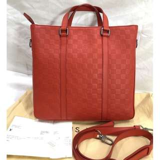 LOUIS VUITTON red damier infini leather tadao PM tote bag