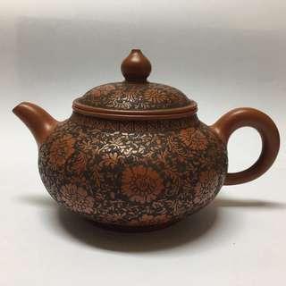 Teapot Zisha Etched Floral