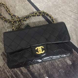 Chanel Vintage Small Double Flap in Black Lambskin with GHW