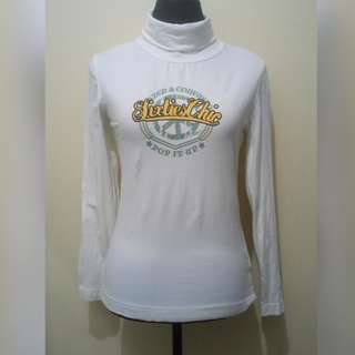 WA686 Sixties Chic Cream Colored Turtleneck Blouse (see pics for minor flaw)