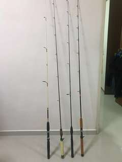 Variety of fishing rods