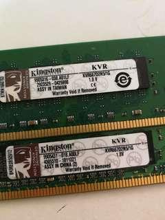 Kingston KVR667 D2N5/1G Ram 電腦記憶體