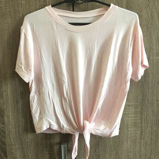 Pink Cropped Tied Tee