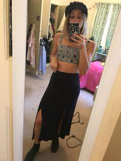 Black winter knit split maxi long skirt size 6 XS