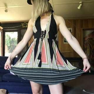 Halter neck summer tea black dress size 6 XS