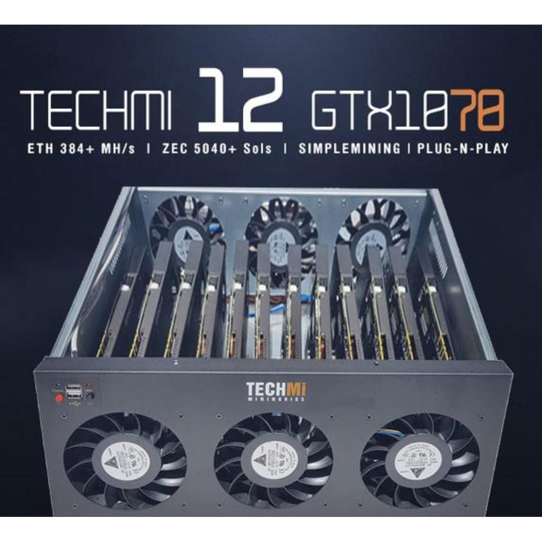 12 GPU Nvidia GTX 1070 8GB - Mining Rig PLUG-N-PLAY OS, Electronics