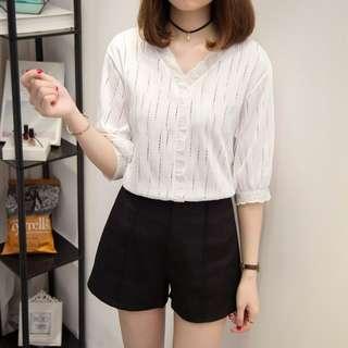 🔥[NEW]🔥 Women Korean Fashion Lace Shirt White