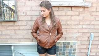 Boho leather shorts