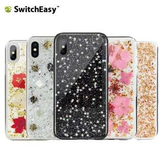 Switcheasy Fleur iPhone X 真花 閃閃 手機殼 軟邊 硬殼