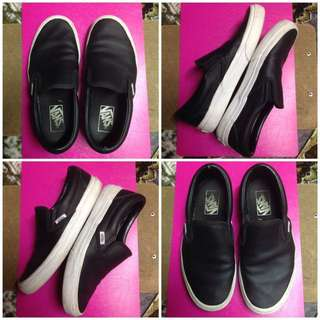Authentic Vans Perf Leather Black Classic Slip-On Slipon Shoes
