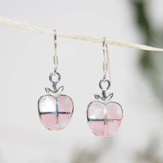 Apple , mother of pearl, silver earrings 純銀耳環