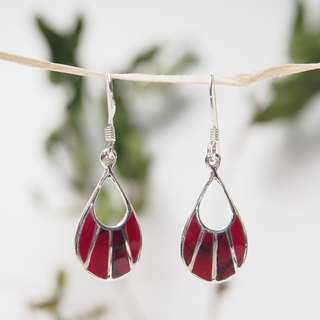 Red silver earrings 純銀耳環