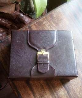 Vintage Rolex President Watch Box, Leather/Burgundy & Wood Inside  Rare 71.00.03