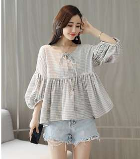 Babydoll Striped Blouse