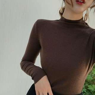 Korea Ulzzang High Neck Bodycon Knitting Sweater