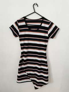 Striped asymmetrical shirt dress
