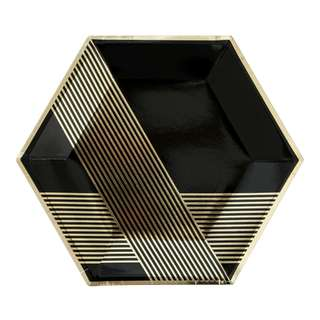 Black Hexagon Large Party Paper Plates