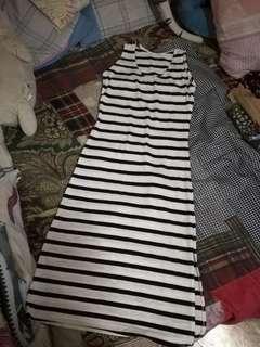 Long Dress Stripe blacknwhite