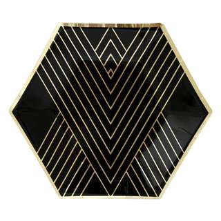 Black Hexagon Small Party Paper Plates