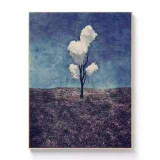 082FavorDay家飾藝術品藝三朵白雲噴繪無框油畫(全館滿2000免運費喔