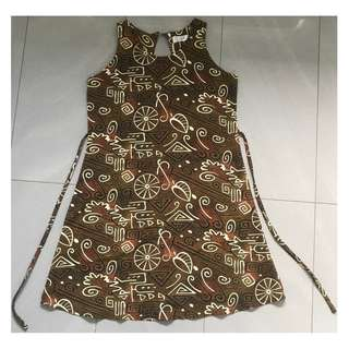 Woman's Brown Printed Dress Size S - Brand New