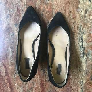 Zara Black Suede Heels size 38