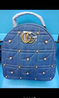 Gucci marmont denim pearl backpack
