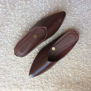 Brown Pointed Mule Shoes