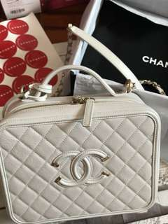 Chanel vanity case 24cm white