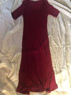 Maroon Maxi Dress with Center Slit