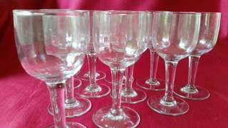 SET OF 12 OLD HAND MADE GLASSES