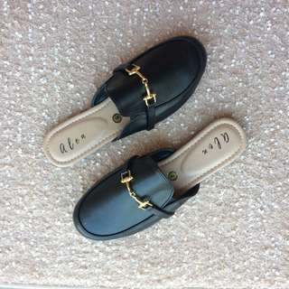 Black Mule Shoes Half Shoes  `