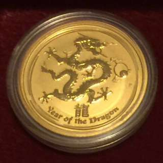 2012 Australia 1/2 oz Gold Lunar Year of the Dragon BU (Series II)