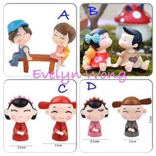 ☘ Terrarium Accessories / Miniature / scrapbooking, gardening deco, photo frame deco, home deco, figurine / Wedding / Valentine / ROM / Lover / Boy & Girl Couple etc