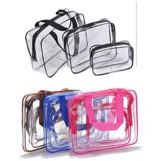 transparent travel bag 3in1