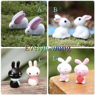 ☘️Terrarium Accessories / Miniature / scrapbooking, gardening deco, photo frame deco, home deco, figurine etc - Rabbit, Rabbit with scarf, Rabbit with heart etc