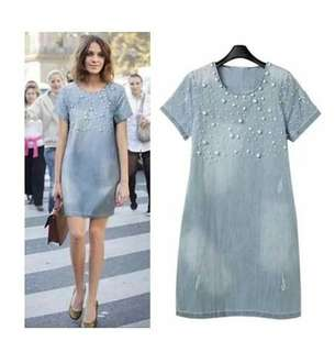 🐊Pearl Studded Denim Dress