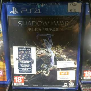 PS4 Shadow of war silver edition