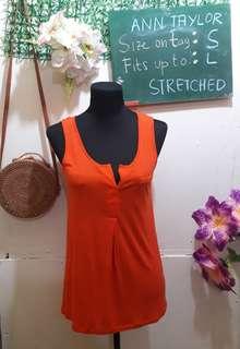 Ann Taylor Orange Sleeveless Top